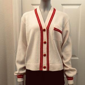 St. John varsity knit cardigan sweater ivory red
